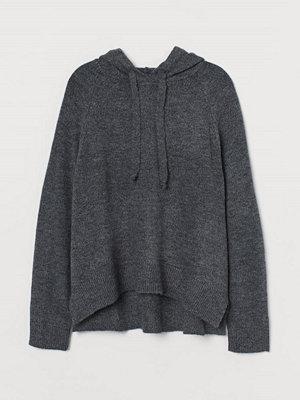 H&M H & M+ Stickad huvtröja grå