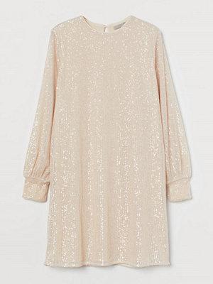 H&M Långärmad paljettklänning beige