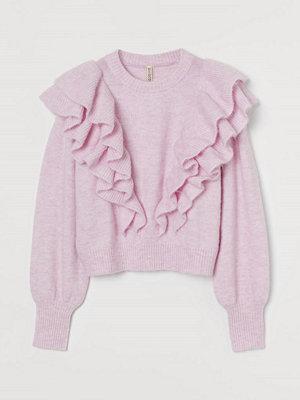 H&M Stickad tröja med volanger lila