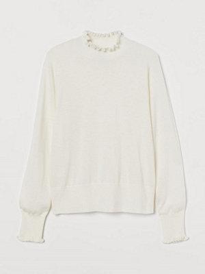 H&M Finstickad tröja med halvpolo vit