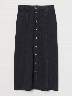 H&M Jeanskjol med knäppning svart