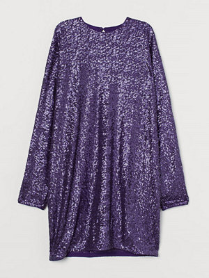 H&M Långärmad paljettklänning lila