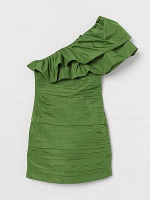 H&M Draperad one shoulder-klänning grön