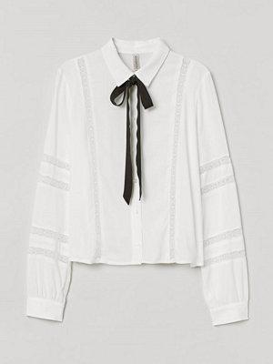H&M Blus med knytband vit