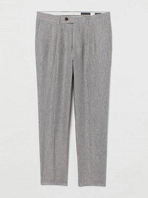 H&M Kostymbyxa i linne Slim Fit beige