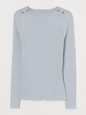 H&M Ribbstickad tröja blå