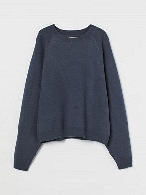 H&M Finstickad tröja i ull blå