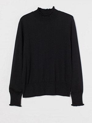 Tröjor - H&M Finstickad tröja med halvpolo svart