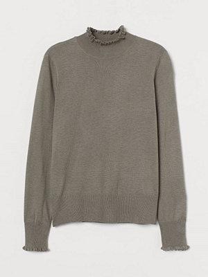 Tröjor - H&M Finstickad tröja med halvpolo brun