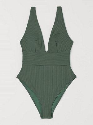 Baddräkter - H&M Ribbad baddräkt High leg grön