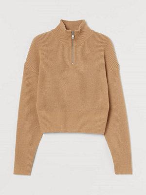 H&M Stickad tröja med dragkedja beige