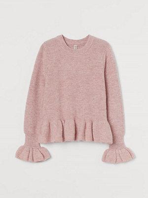 H&M Stickad volangtröja rosa