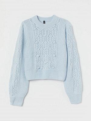 H&M Stickad tröja med pompoms turkos
