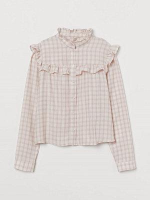 H&M Blus med volanger rosa
