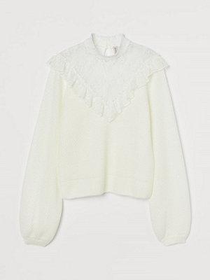 Tröjor - H&M Stickad tröja med spets vit