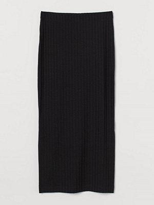H&M Ribbad kjol svart