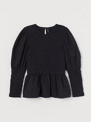 H&M Blus i bomullspoplin svart