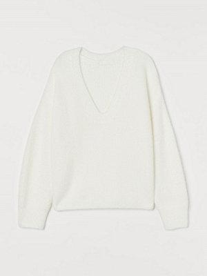 H&M Ribbstickad tröja vit