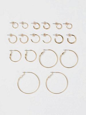 H&M 9 par runda örhängen guld