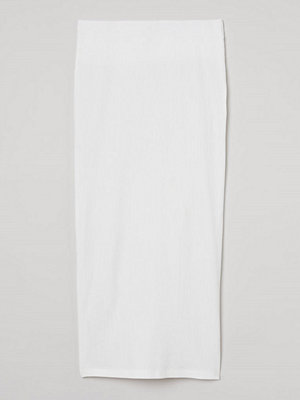 H&M Ribbad kjol vit