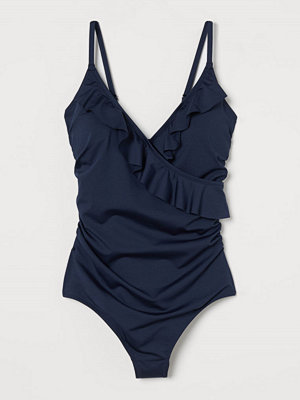 H&M Shape-baddräkt med volanger blå