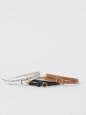 Bälten & skärp - H&M 3-pack smalt skärp beige