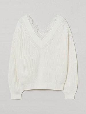 H&M Stickad tröja med spets vit