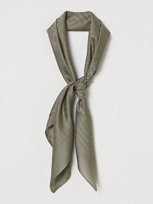 H&M Jaqcuardvävd satinscarf grön