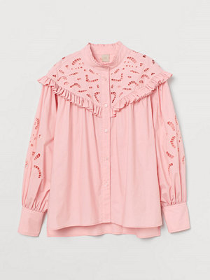 H&M Blus med broderie anglaise rosa