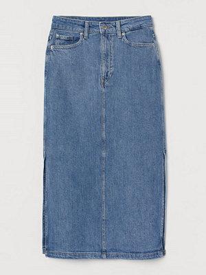 H&M Knälång jeanskjol blå