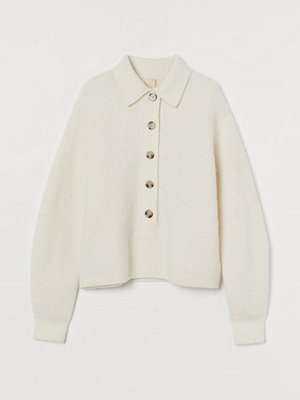 H&M Stickad tröja i ullmix vit