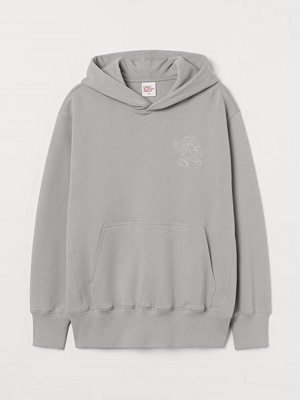 H&M Huvtröja med tryck grå
