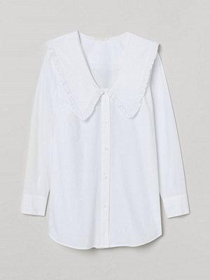 H&M Blus med stor krage vit