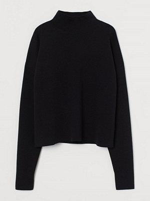 H&M Stickad tröja i silkesmix svart