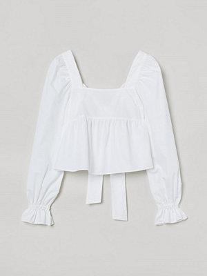 H&M Bomullsblus med rosett vit