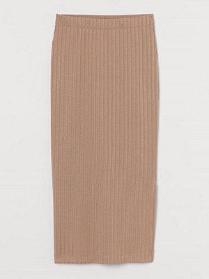 H&M Ribbad kjol beige