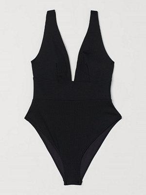 Baddräkter - H&M Ribbad baddräkt High leg svart