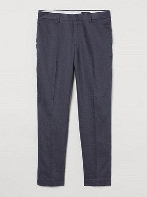 H&M Kostymbyxa i linne Slim Fit blå