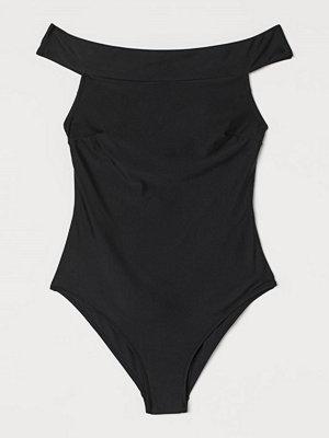 H&M Off shoulder-baddräkt svart