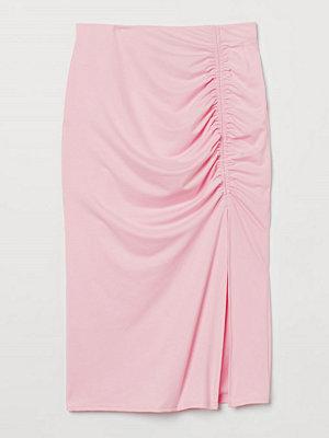 H&M Trikåkjol med rynk rosa
