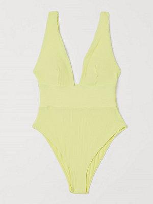 H&M Ribbad baddräkt High leg gul