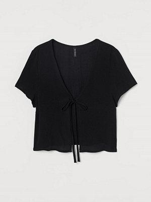 H&M Blus med knyt svart