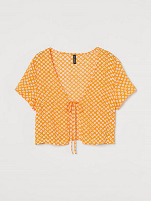 H&M Blus med knyt orange