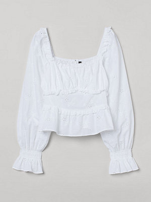 H&M Blus med broderie anglaise vit
