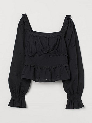 Blusar - H&M Blus med broderie anglaise svart