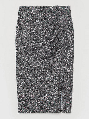 H&M Trikåkjol med rynk svart
