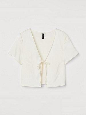H&M Blus med knyt vit