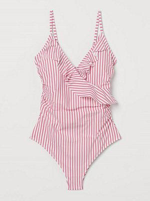H&M Shape-baddräkt med volanger rosa