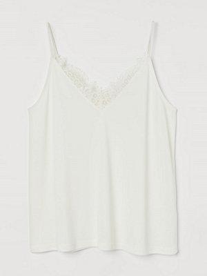 H&M Linne med spetskant vit