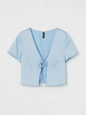 H&M Blus med knyt blå